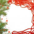 Frame of Christmas tree and beads — Stock Photo