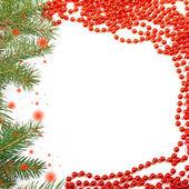 Frame of Christmas tree and beads — Stock Photo