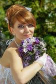 Portrait redhead charming Bride — Stock Photo