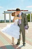 Braut und bräutigam sanft küssen — Stockfoto