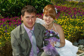 Portrait redhead bride and groom — Stockfoto