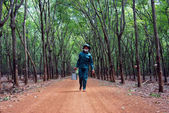 Worker collecting latex rubber at rubber plantation — Stock Photo