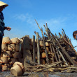 People repair to burn pottery at wasteland. PHAN RANG, VIET NAM- FEBRUARY 3 — Stock Photo
