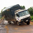 Lorry stuck on road — Stock Photo