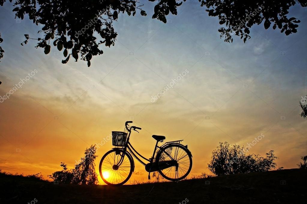 美丽的风景的性质与在农村在日出的太阳和自行车轮廓的印象— photo b