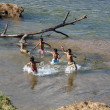 Children bathe in the river — Stock Photo