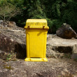 Stockfoto: Dustbin to remind enviromental protection sense