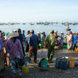 Crowed atmosphere at seafood market on beach — Stock Photo #41651953