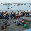 Crowed atmosphere at seafood market on beach — Stock Photo #41651961