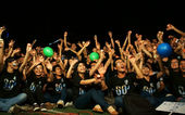 Crowd of young person raise hand in earth hour — Stock Photo