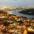 Impression night landscape of Ho Chi Minh city from high view — Stock Photo