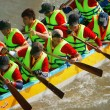 Teamwork spirit in boat race — Stock Photo