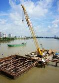 Construction site on Saigon river — ストック写真