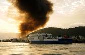 Mekong Delta ferry boat on sea, black smoke — Stock Photo