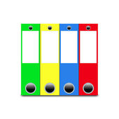 Folders of different colors arranged in a row — Stock Photo