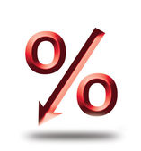 Red symbol percent, Rise — Stock Photo