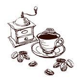 Juego de café ilustrados — Foto de Stock