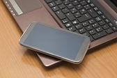 Smart Phone on the Keyboard — Stock Photo