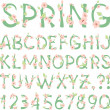 Stock Vector: Spring vector Alphabet with flowers and new green leaves