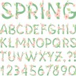 Spring vector Alphabet with flowers and new green leaves — Stock Vector