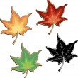 Set of colorful maple leaves and black and white variation — Stock Vector