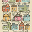 Set of hand drawn living houses with paths in color — Stock Vector