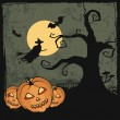 Halloween card with spooky pumpkins, creepy tree, witch, bats and the moon — Stock Vector