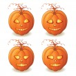 Vector Halloween pumpkins with different facial expressions — Stock Vector