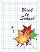 Volver a la escuela cartel con hojas de arce colorido — Vector de stock