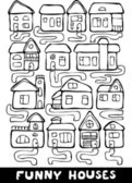 Set of hand drawn living houses with paths in black and white, vector — Stock Vector