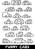Set of hand drawn funny cars in black and white — Stock Vector