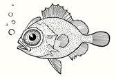 Abstract fish, hand drawn vector illustration — Stock Vector