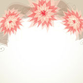 Design with three flowers, vector — Stock Vector