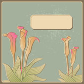 Invitation card with calla flowers, vector — Stock Vector
