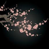 矢量分支的黑色樱花 — 图库矢量图片