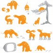 A set of funny animals — Stock Vector