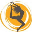 Silhouette jumping cheerful girl — Wektor stockowy #33774029