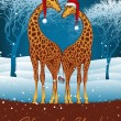Christmas giraffes card — Vector de stock