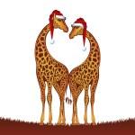 Christmas giraffes — Stock Vector