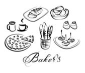 Food and drinks baker's theme — Stock Vector