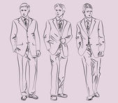 Men in business suits — 图库矢量图片