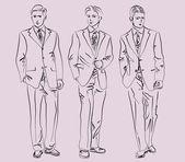 Uomini in giacca e cravatta — Vettoriale Stock
