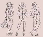 Women in business suits — Stok Vektör