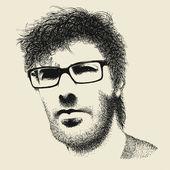 Unshaven hipster man — Stockvector