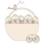 Easter basket full of eggs — Stock Vector