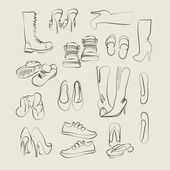 Collection of footwear — Stock Vector
