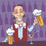 Barman serving beer — Vector de stock