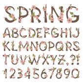 Alfabeto de primavera — Vector de stock