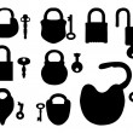 Padlock with keys — Stock Vector