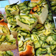 Toasted bread with zucchini — Stock Photo